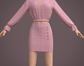 3D model dress - ruffle blouse and button mini skirt