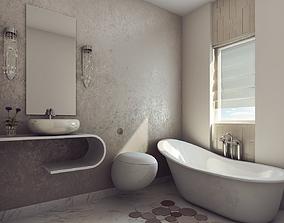 3D Modern Earthy Design Bath Room
