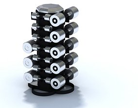 3D Silver Metal Dumbbells With Stand