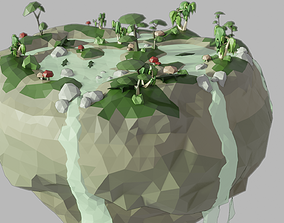 3D model Low-Poly Floating Island Swamp