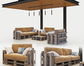 Canopy with pallets garden furniture sofa 3D model