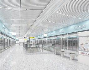 3D model Subway platform light rail subway platform tram