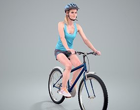 3D model Blue Wearing Sporty Woman on a Bicycle