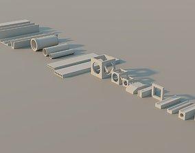 3D asset Precast Concrete Elements Collection - 20 Items