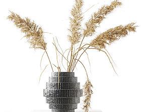 3D Black Vase with Pampas