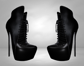 game-ready Leather Boots 3D Black 2 Low-poly 3D model