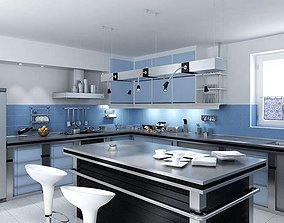 3D model Blue Kitchen With Island Table