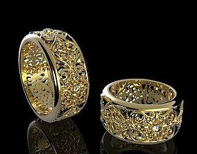3D printable model Openwork ring with diamonds