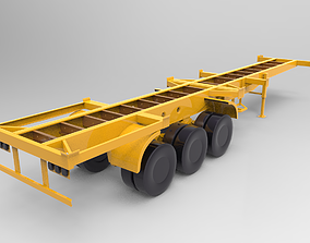 Old Trailer Container Carrier 3D model