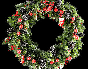 3D model Christmas thick wreath of coniferous branches