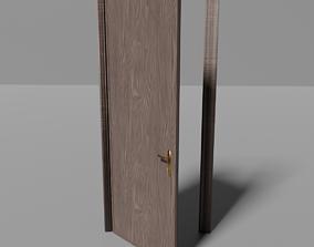 Classic interior door with frames 3D asset