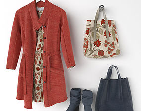 clothing set and handbag 3D