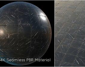 Black marble tiles PBR material 3D asset
