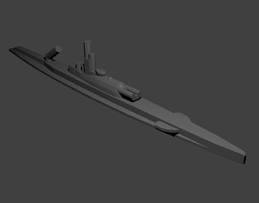 French Submarine Surcouf 3D printable model