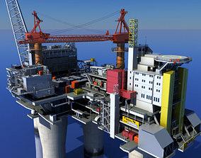 human animated Oil Gas Platform 3D model