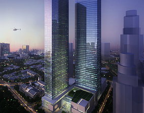 Two Skyscrapers with Glass Decor 3D model