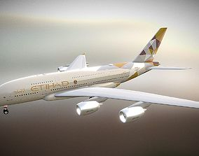 Etihad Airways Airbus A380 3D asset