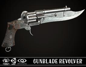 Gunblade Revolver Steel 3D asset