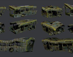 3D asset 3 Apocalyptic Damaged Destroyed Vehicle Bus 3