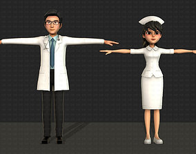 3D people Doctor and Nurse