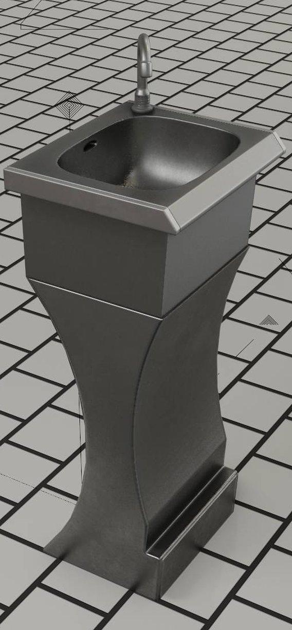 Public Metal Sink - 9 - Futuristic Low-Poly (Blender-2.92)
