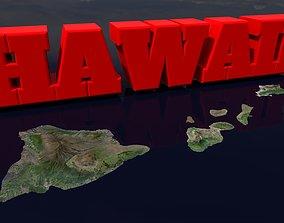 3D model realtime Hawaiian Islands archipelago