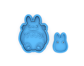 Totoro smile and Chibi cookie 3D printable model 1