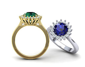 Princess ring 8mm round Sapphire Engagement ring 3d model