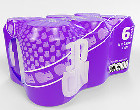 6 pack 250ml beverage cans in a plastic shrinkwrap 3D