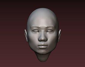Female head 2 asian woman 3D print model
