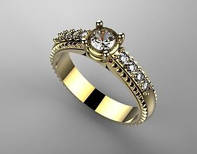 Ring with stones 3D print model metal