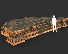 3D asset Low poly Mossy Brick Ruin Asia Temple 07