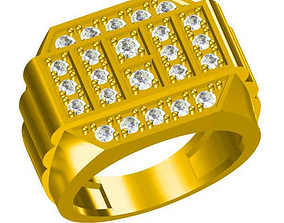 Men gold engagement rings jewelry cad 3D printable model
