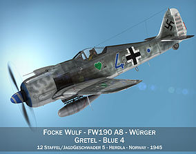 wwii Focke Wulf - FW190 A8 - Blue 4 3D model