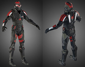 3D model Futuristic soldier Mass Effect