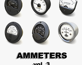 3D Vintage analog ammeters collection vol 3