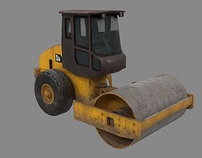 3D asset low-poly Road roller