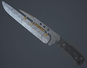 3D asset knife damascus steel