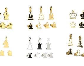 Chess pendants and earrings set 3D print models