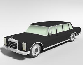 3D model Low Poly Cartoon Retro Limousine