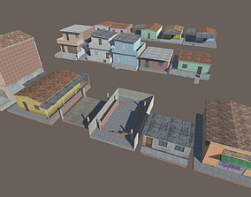 3D asset pack of slum houses
