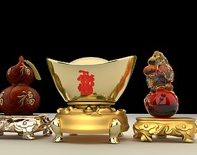 Chinese Gourd with Yuanbao 3D