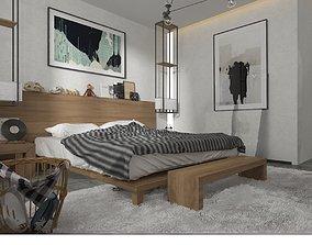 ballroom scandinavian bedroom 3D model