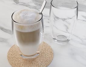 3D Cafe Latte Glass