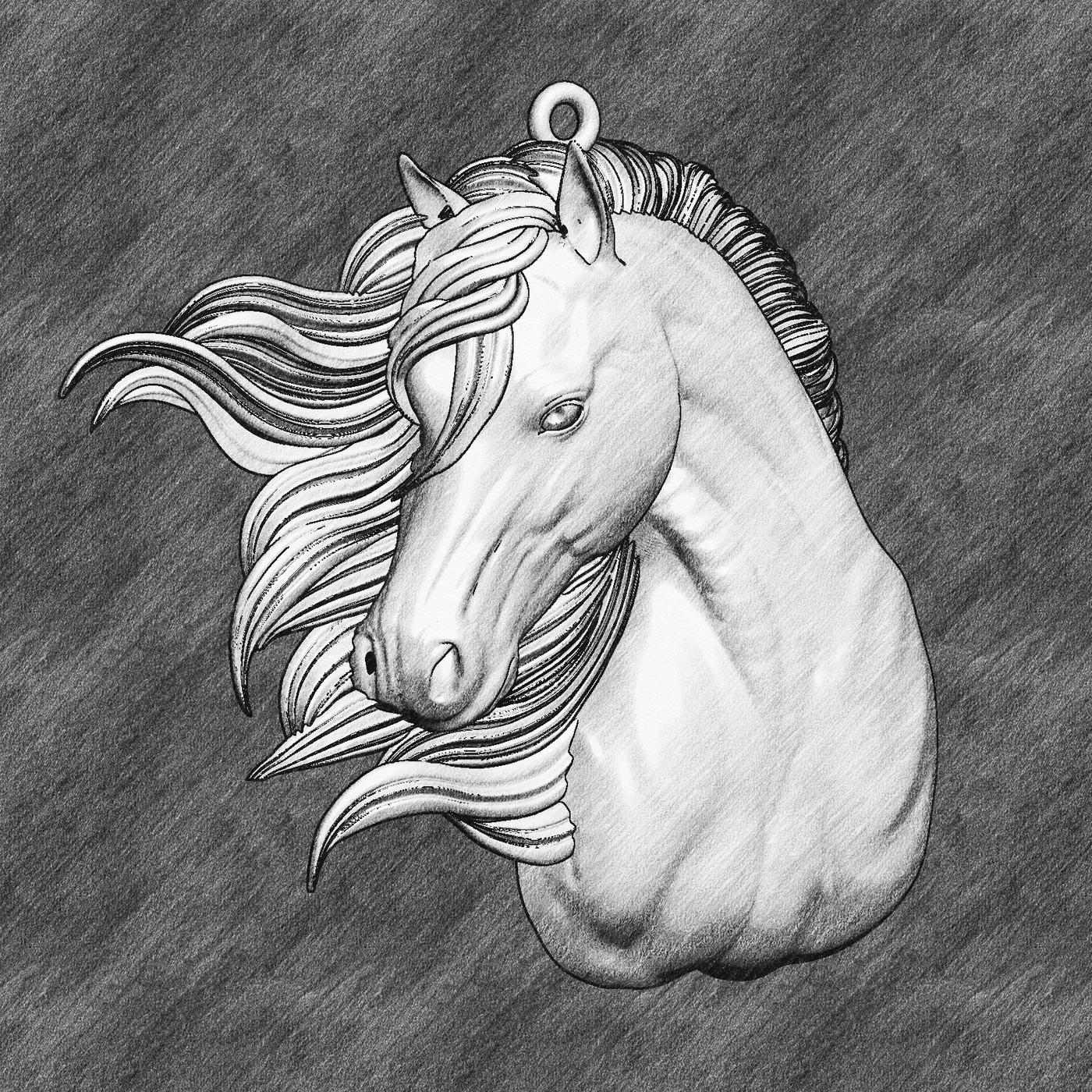 Wind Horse Head Pendant jewelry Gold 3D print model