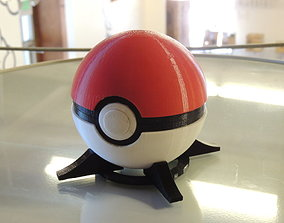 3D print model Pokeball with button-release lid