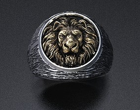3D printable model Stylish male ring with a lion 462
