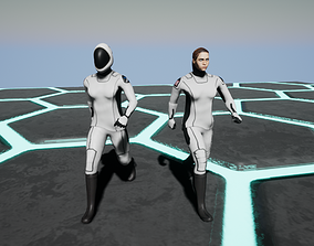 SpaceX Dragoncrew female astronaut 3D model