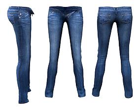Womens Skinny Unbuttoned Jeans 3D asset