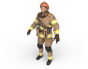 Firefighter character 3D model game-ready